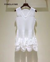 FOMOLAYIME Fashion Designer Runway Dress 2018 Women Summer V Neck Knitted White Sleeveless Party Vestidos