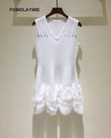 FOMOLAYIME Fashion Designer Runway Dress 2018 Women Summer V Neck Knitted White Sleeveless Party Vestidos