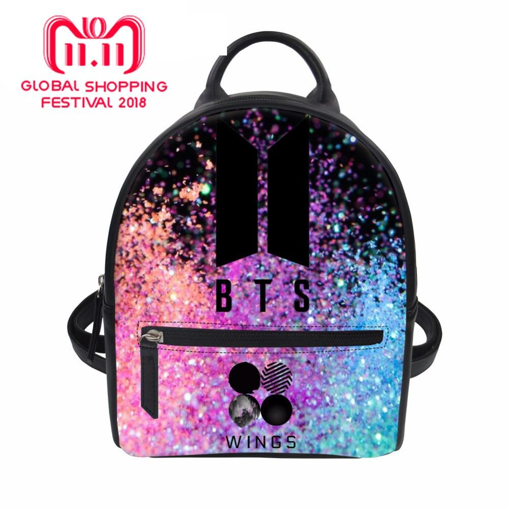 388f3f6f3cb2 Women Backpack PU Leather Backpacks BTS Rucksack for Teenager Girls Fashion Bagpack  Lady Mini Daypack Female