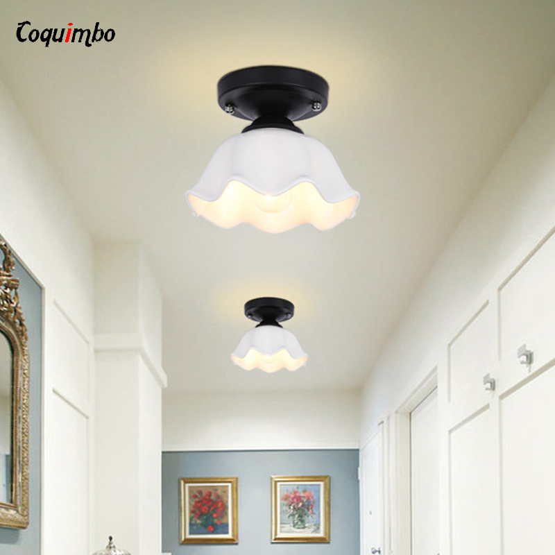Modern Glass Flower Ceiling Wall Lamp Lights Living Room Aisle Wall Sconce Bedroom Decoration Ceiling Lamps