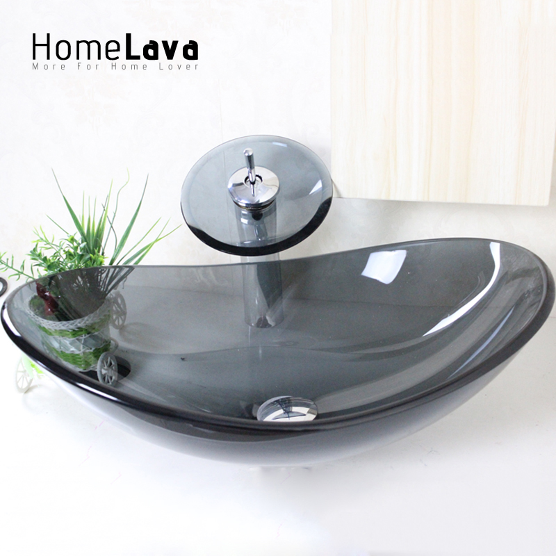 Gray wash bowl and faucet set wash basin hand wash basin hand washing pots with drainage bracket transparent & gray oval VT0003