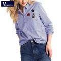 Повседневная синий полосатый рубашка 2017 Весна лето Высокое Качество блузка женщины топы blusas Вышивка женский блузка рубашка Горячей продажи