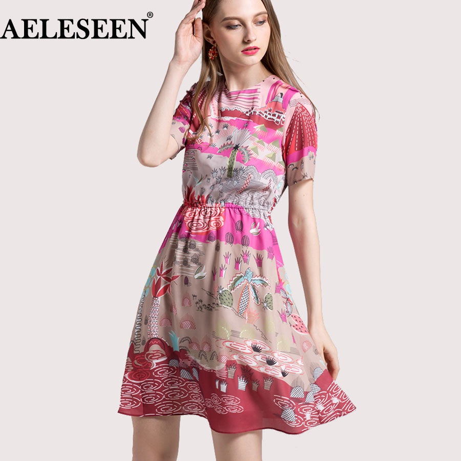 Bohemain Dresses 2018 Summer Female New Fashion Pink dress Elastic waist Print High Quality Short Sleeve