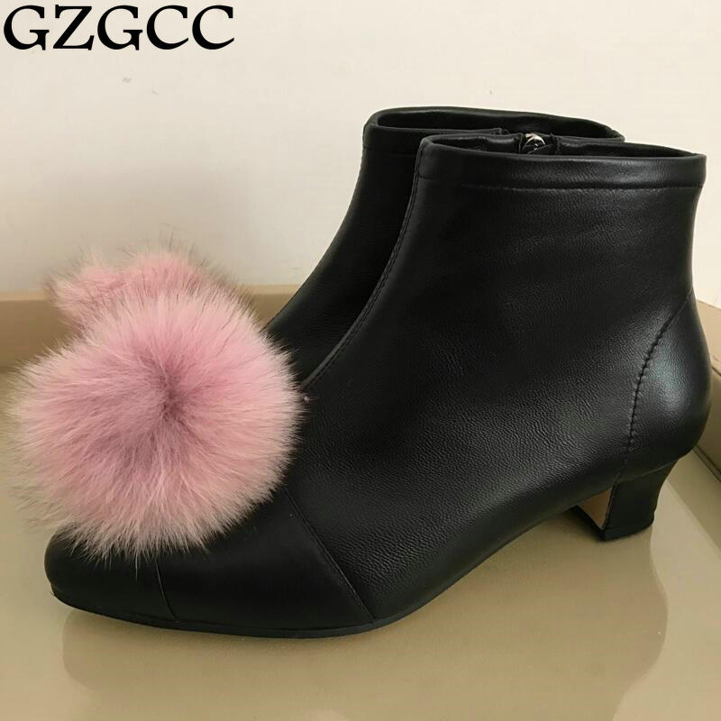GZGCC Women Ankle Boots Square High Heel Boots for Woman Fashion Zip Black Autumn Winter Womens