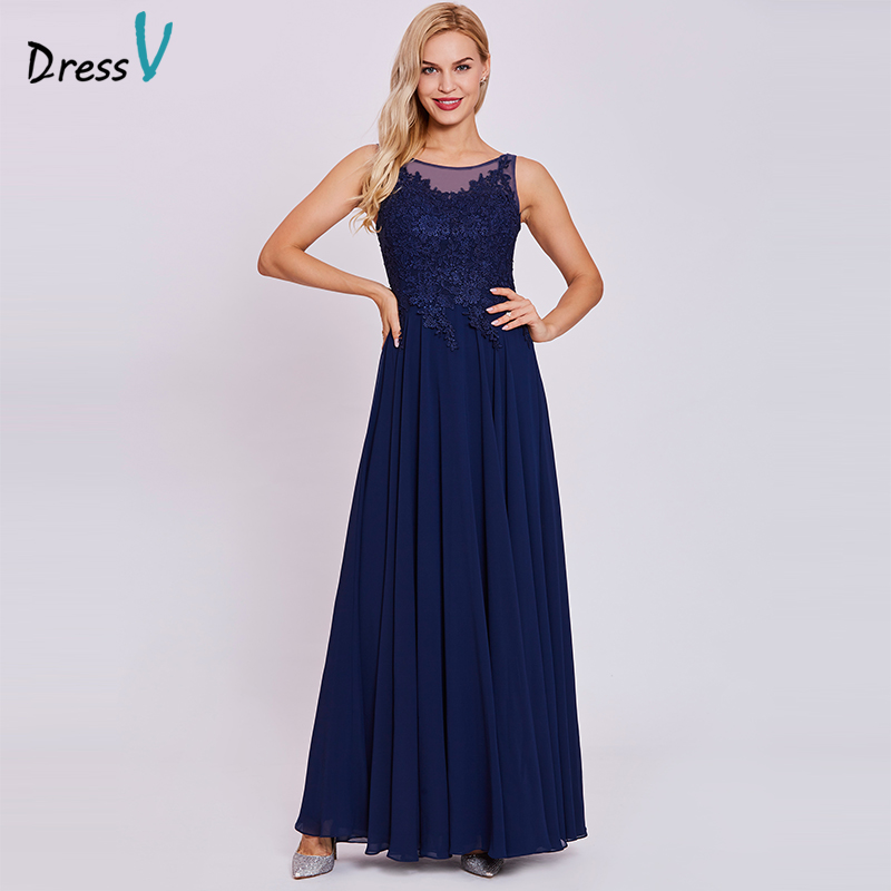 Dressv Dark Royal Blue Long Evening Dress Cheap Scoop Neck Sleeveless A Line Appliques Wedding Party Formal Evening Dresses