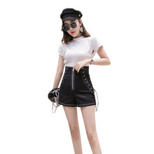 High Waist Zipper Shorts Women Spring Summer 2019 New Temperament Slim Fashion knickers Tie Strap Wide Leg Shorts Daughter YH114