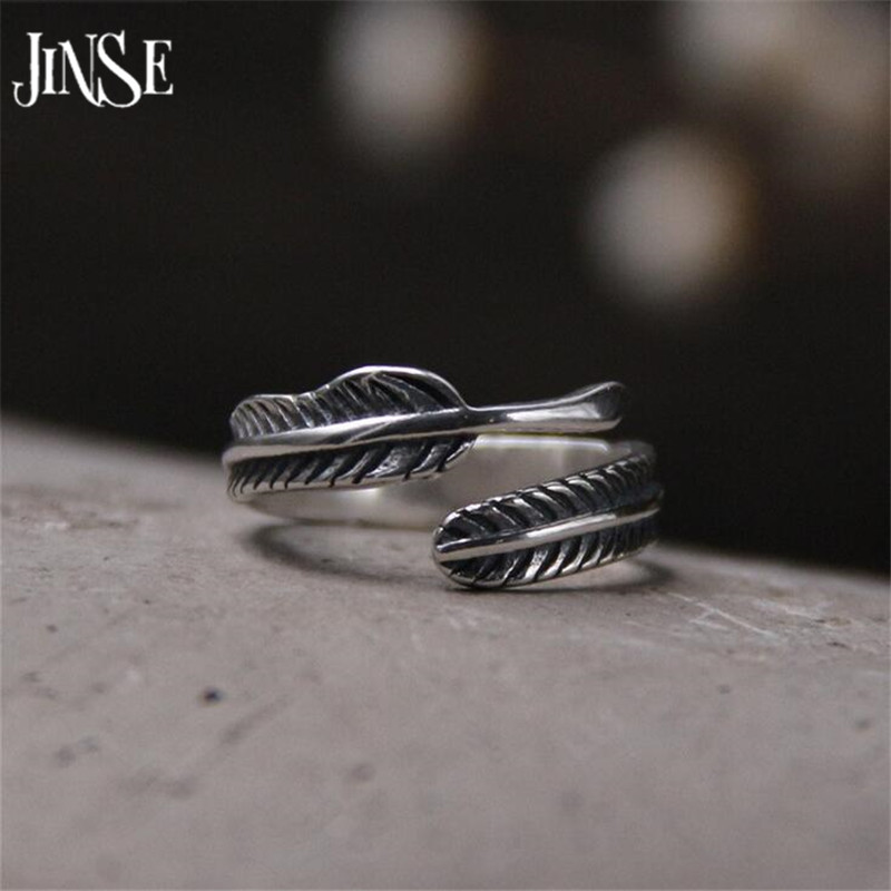 JINSE 100% Real Pure 925 Sterling Silver Rings for Men Jewelry S925 Solid Thai Feather Ring 4.6mm 2.1G