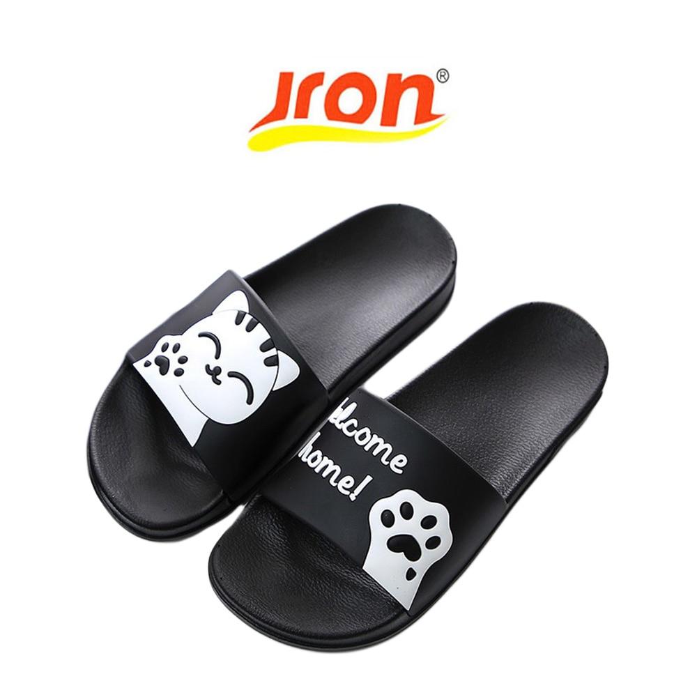 73272172510fa2 Jron Summer Women Slides Cartoon Cat Pattern Beach Slippers Platform  Sandals Women Shoes Sandalias Flip Flops