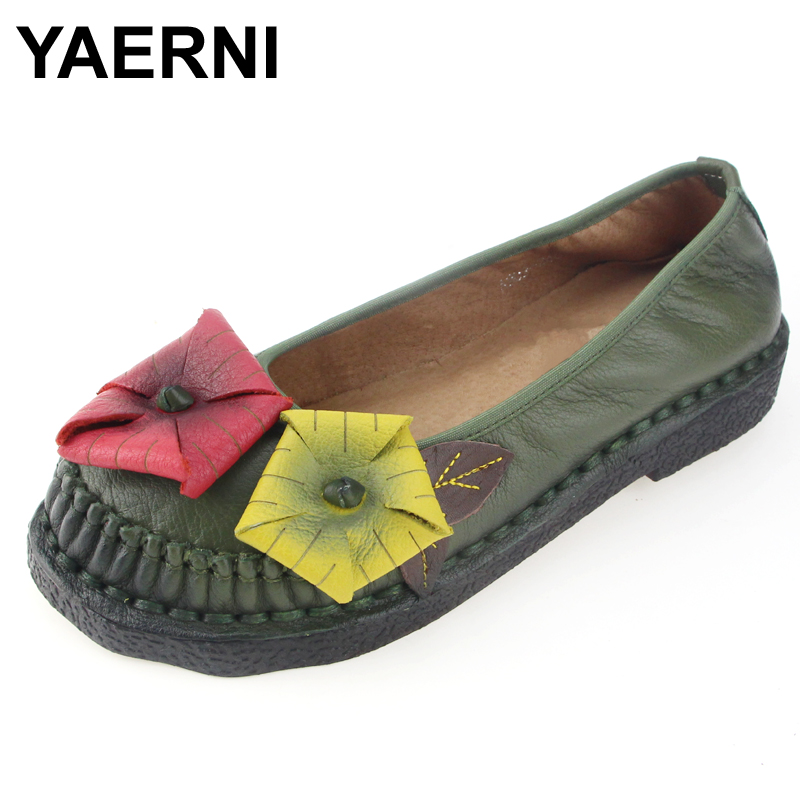 YAERNI Women Genuine   Leather   Shoes Soft Soles Woman Hand-sewn   Suede     Leather   Flats Cowhide Flexible Boat Shoes Women Loafer