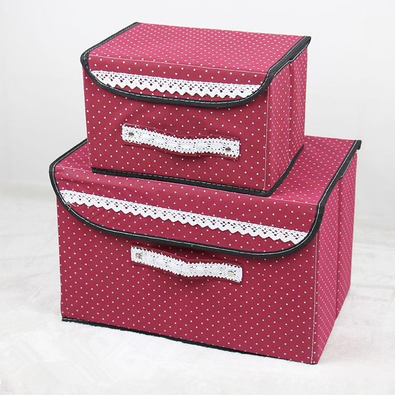 Clothes Finishing Box 2 pcs/set Two Size Clothes Covered Toys Storage Boxes Cosmetics Place Small Objects Snacks Sundries Book