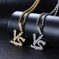 European and American personality English word men's pendant fashion full zircon hip hop necklace