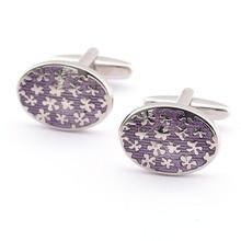 Эмалевые запонки овальные фиолетовые цветные Запонки Свадебные/деловые мужские модные ювелирные аксессуары подарок 10 пар/лот
