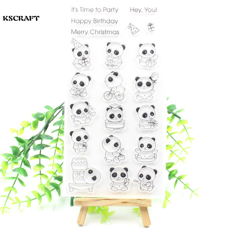 KSCRAFT Cute Pandas Transparent Clear Silicone Stamp/Seal for DIY scrapbooking/photo album Decorative clear stamp sheets lovely animals and ballon design transparent clear silicone stamp for diy scrapbooking photo album clear stamp cl 278