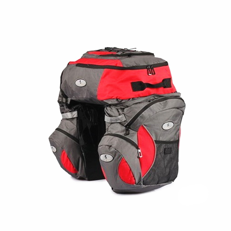 65L Super Large Bicycle Saddle Bags Pannier 600D Waterproof Bicycle Rear Seat Trunk Bag Panniers for Long-distance Cycling Bags roswheel 50l bicycle waterproof bag retro canvas bike carrier bag cycling double side rear rack tail seat trunk pannier two bags