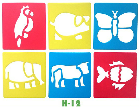 Pig Fish Cow Elephant DIY Template Stencil Kids Art Board Early Learning Educational Toy Party Favor 14x15cm 18 Design