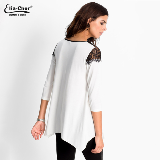 aaa- 3/4 Sleeve, Cotton & Lace, White Blouse Top, Elia-Cher Brand