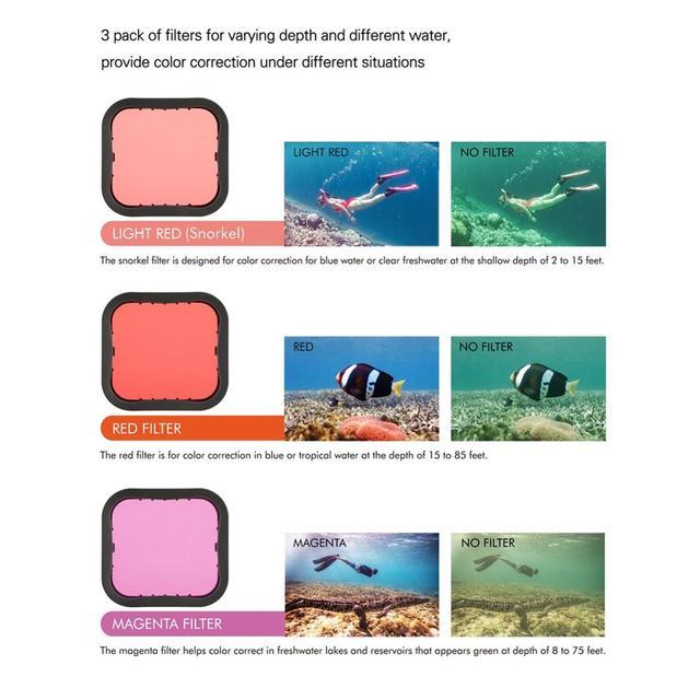 SOONSUN 3-Pack Filters Kit Red Magenta Snorkel Scuba Camera Lens Color Filter for GoPro HERO 5 6 7 Black Super Suit Housing Case
