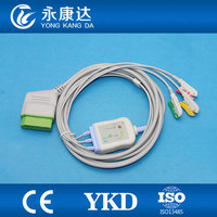 Nihon Kohden ECG cable and leadwires,3lead ecg cable,clip,IEC, 12 pins