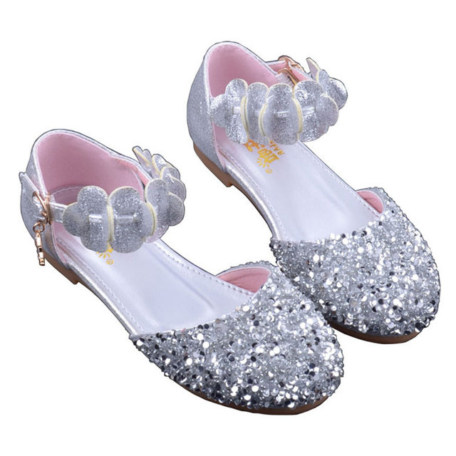 0f56fef1027 US $15.39 43% OFF|Girls Shinny Sandals Closed Toe Crystal Princess Dress  Shoes Dance Stage Flats Silver Pink Size 24 35 Toddler Baby Kids Shoes-in  ...