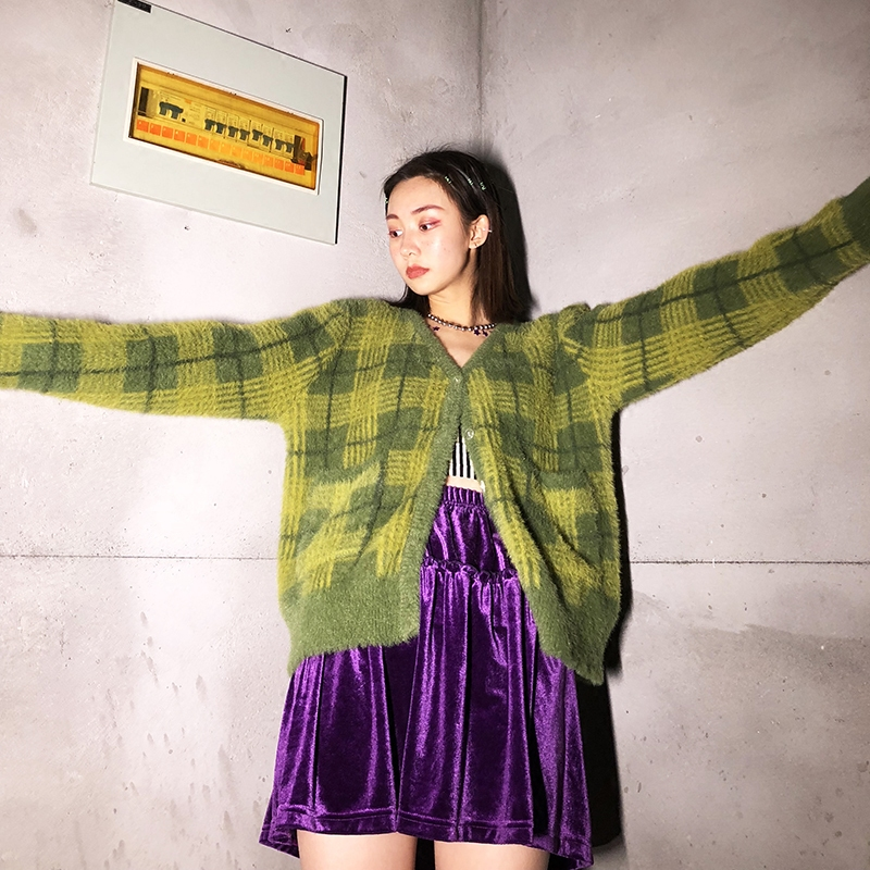 Cardigans Women Vintage Kawaii Unif Green Plaid Cropped Sweater Button Front Cardigan Pocket Feminino With Tag