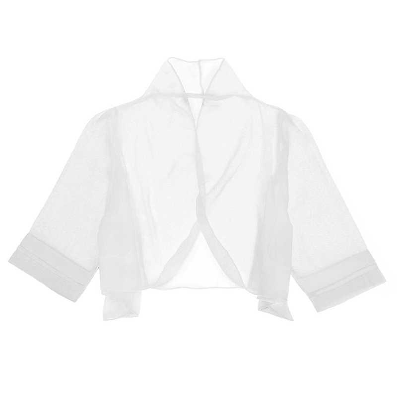 Women Sheer Chiffon Bolero Shrug Jacket Open Front Half Sleeve Crop Top Cardigan