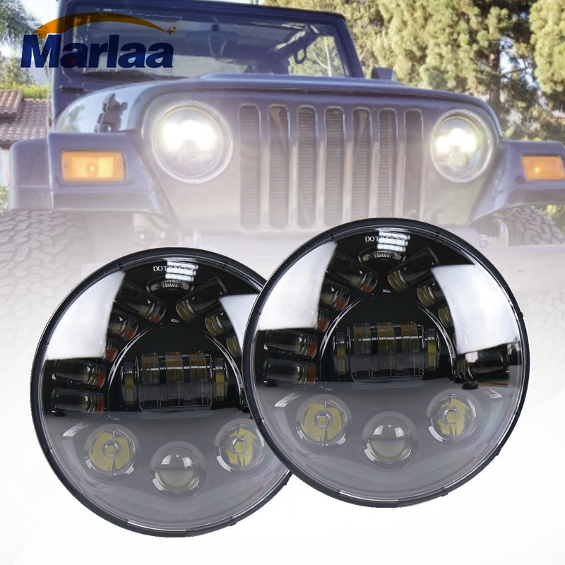 Marlaa 2pcs For Jeep wrangler Projector LED Headlight 7Inch Led Headlight Bulb DRL Hi/Lo Beam Fit Jk Tj Fj Cruiser Hummer H1 H2 2pcs new design 7inch 78w hi lo beam headlamp 7 led headlight for wrangler round 78w led headlights with drl