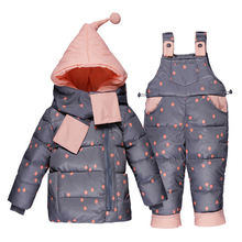 Buenos Ninos Children Boys Girls Winter Warm Down Jacket Suit Kids Thicken Hooded Coat+Jumpsuit Baby Clothing Sets with Scarf