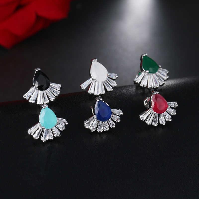 แฟชั่นขนาดเล็กDruzyสีเขียวZ Irconiaต่างหูสตั๊ดด้วยสีขาวสีทองลดลงน้ำกระดุมหูสำหรับผู้หญิงพรรคEarings AE468