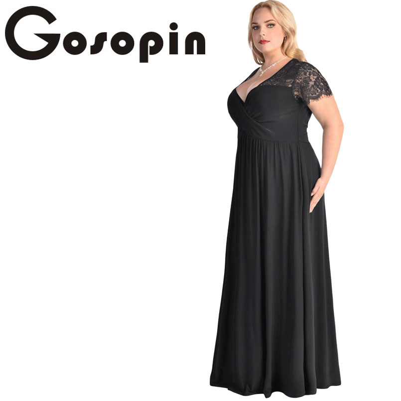 4229b2687ba Gosopin Big Women Black Lace Party Dress Ruched Twist High Waist Plus Size  Gown LC61025 Sexy Short Sleeve Party Longo Vestidos-in Dresses from Women s  ...