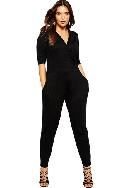 Adogirl Women Plus Size Black Jumpsuits 2016 Lady Female Wrap V Neck Half Sleeve Long Pants Jumpsuit Rompers One Piece Overalls