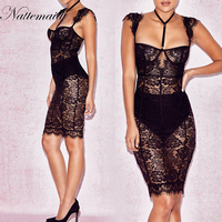 NATTEMAID Unique Design Tight Party Dress Summer Style 2017 New Arrival Black Lace Dress Sleeveless Knee