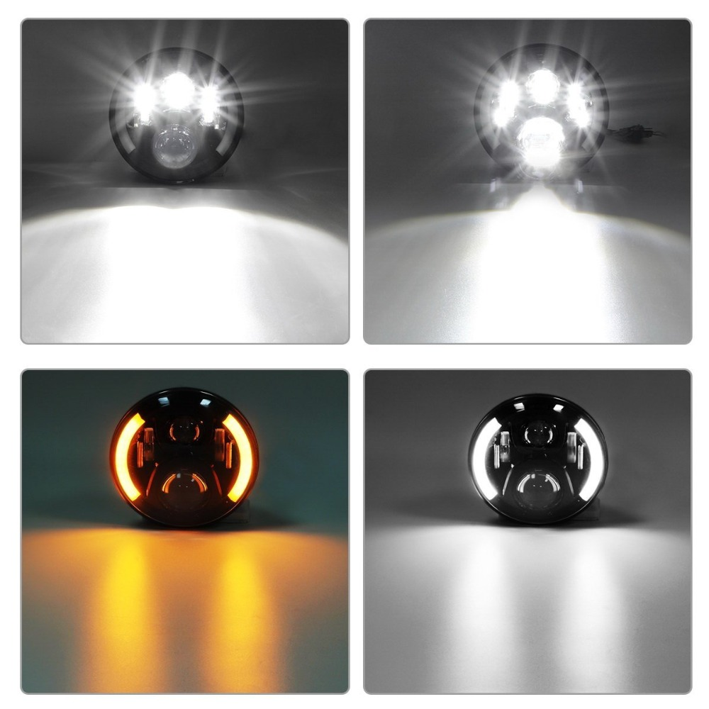 Marloo DOT 120W 7 Inch Round LED Headlights Projector White Halo Ring Angel Eye DRL For Jeep Wrangler Jk Tj Lj Sahara Unlimited marloo dot 7 inch 120w 9000 lumens hi lo beam led headlights with side halo ring drl turn signal for jeep wrangler jk tj lj