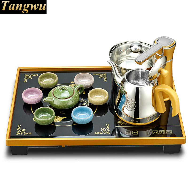 Automatic upper water electric kettle tea set, home electromagnetic stove table tray automatic water filled electric kettle set of the tea with stove