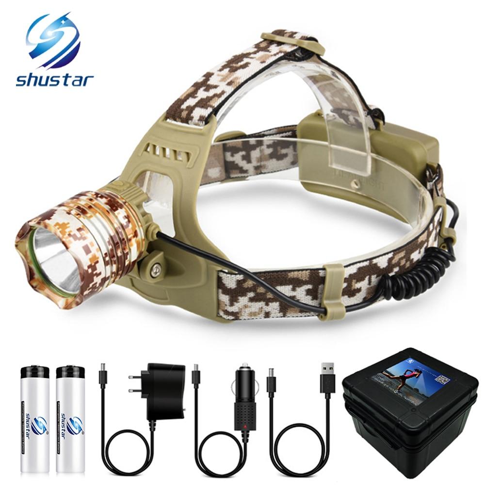 Camouflage Led Headlamp T6 waterproof LED Headlight led Head Lamp Lantern Lamp