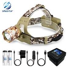 Camouflage Led Headlamp T6 waterproof LED Headlight led Head Lamp Lantern Lamp Camping Hiking Fishing Light use 18650 battery