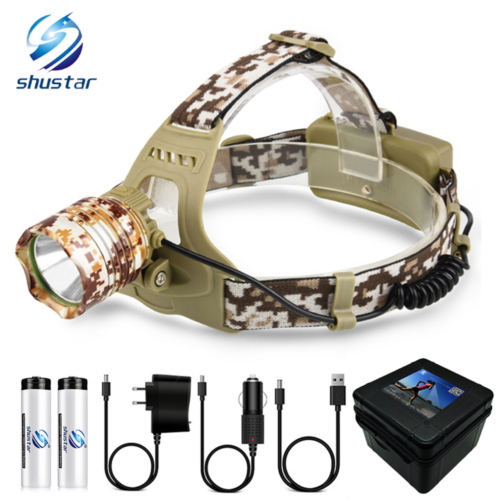 Camouflage Led Headlamp T6 waterproof LED Headlight led Head Lamp Lantern Lamp Camping Hiking Fishing Light use 18650 battery