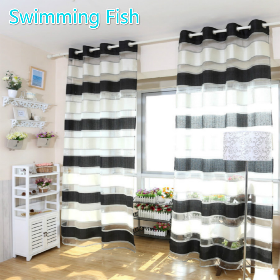 140x270cm Polyester Black And White Stripe Balcony Window Curtain Sheer  Curtain