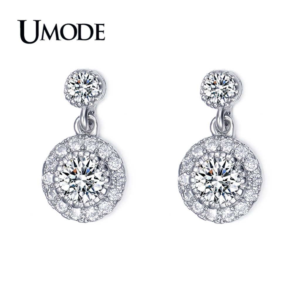 UMODE Fashion White Gold Color Drop Earrings for Women CZ Crystal Earring Orecchini Fashion Jewelry Anillos Mujer Femme AUE0097
