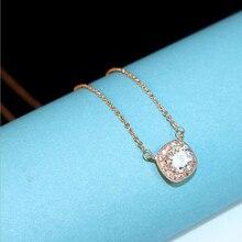 2017 Hot Sale Brand Exquisite Short Paragraph Shiny Square CZ Pendant Necklace Rose Gold Color Retention Clavicle Chain Female