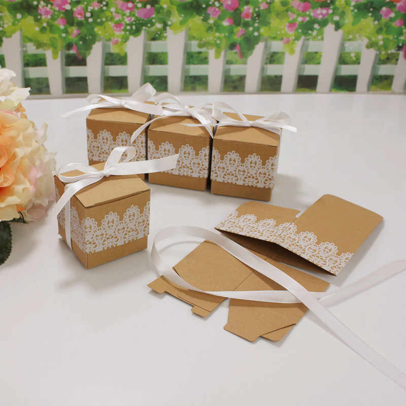 10 Pcs Rustieke Bruiloft Decoraties Tafel Kant Boog Snoep Dragee Box Baby Shower Bachelorette Party Liefde Mr Mrs Bruiloft Benodigdheden