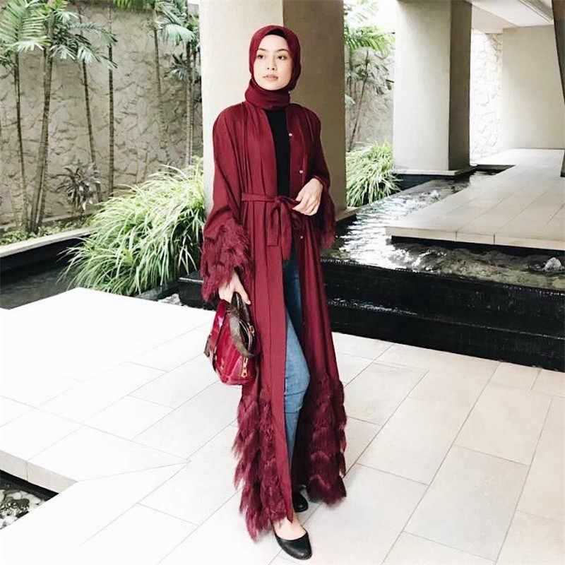 Elegante Muslimah più spessa di tessuto di pizzo abaya Turco pieno lunghezza Jilbab Dubai femminile del manicotto del merletto del vestito Islamico wq1333 dropship