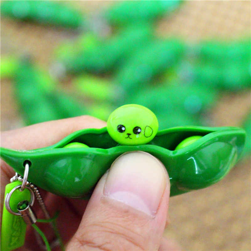 Novelty Funny Soybean Pea Bean Key Chain For Men Trinket Stress Relieve Silicone Bean Charm Keychain Toy Keyring Jewelry Gift