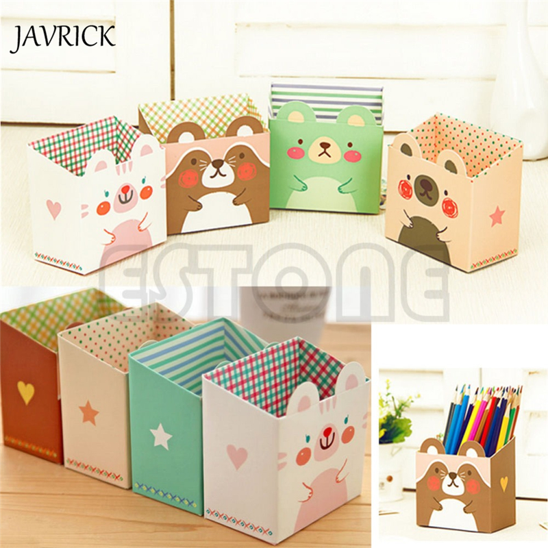 JAVRICK Cute Cat Cartoon Paper Stationery Makeup Cosmetic Desk Organizer Storage Box DIY ZB380