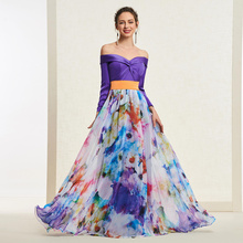 Tanpell off the shoulder evening dress printed long sleeves floor length women custom a line dresses