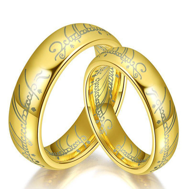 2017 new lord of the ring titanium steel wedding rings engagement cocktail parents gift couple bands - Lord Of The Rings Wedding Rings