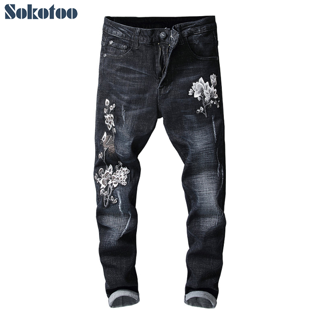 Sokotoo Men's ankle length flower embroidery black denim jeans Fashion embroidered skinny crop pants