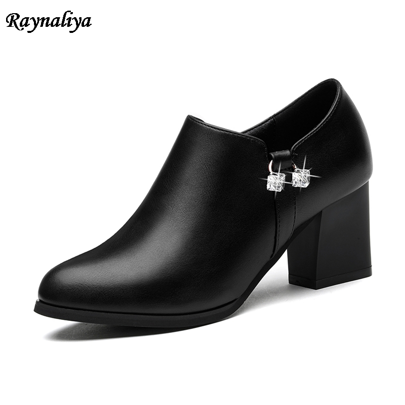 2018 New Arrive Women Pumps Fashion Black Pointed Toe Spring Autumn Single Shoes Square High Heels Shoes Big Size  LSN-B0071 2017 women strange autumn brown abnormal evening pointed toe blue catwalk high heels pumps size 4 34 stiletto medium fashion new