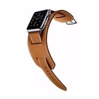 Genuine Leather Cuff Bracelet Men Women For Apple Watch Cuff Band Watch Strap 42mm 38mm Steel