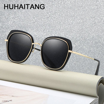 HUHAITANG Fashion Brand Designer Square Sunglasses Luxury Oversized Frame Sunglass Women Vintage Shades For Ladies Sun Glasses