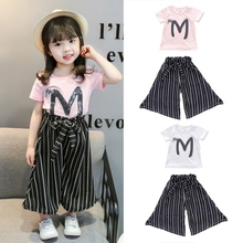 Fashion Baby Girl Clothes Set Letter Print Short Sleeve T-shirt+Stripe Wide Leg Casual Long Pants 2019 letter print wide leg pants